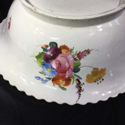Large Coalport basin, flower moulding & painted, c. 1840-28030