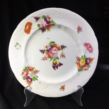 Coalport plate, flower moulding & brightly painted, c. 1840-0