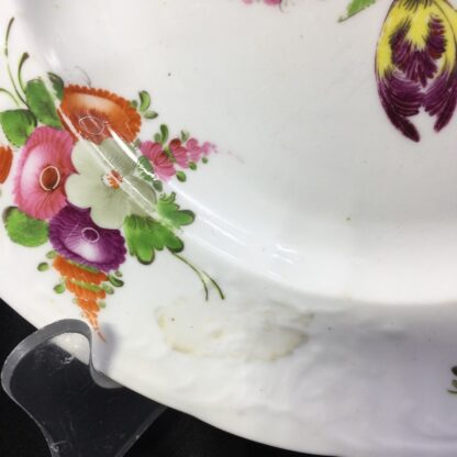Coalport plate, flower moulding & brightly painted, c. 1840-28021