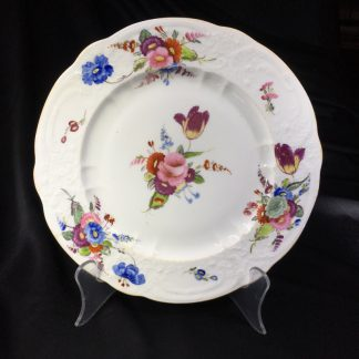 Coalport plate, flower moulding & painted, c. 1840-0