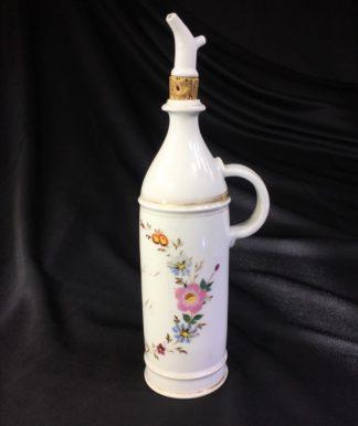 Paris porcelain scent octagonal decanter, flower dec, c. 1870 -0