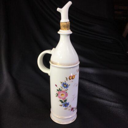 Paris porcelain scent octagonal decanter, flower dec, c. 1870 -27981