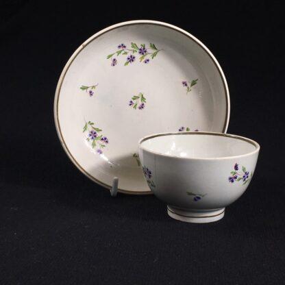 English pearlware teabowl & saucer, cornflower sprays, c. 1800-26664