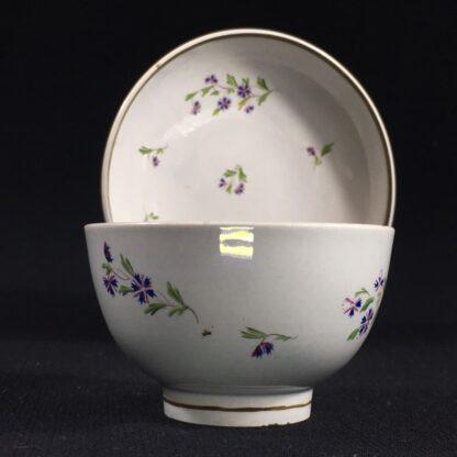English pearlware teabowl & saucer, cornflower sprays, c. 1800-26665