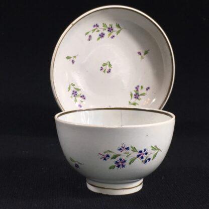 English pearlware teabowl & saucer, cornflower sprays, c. 1800-26669