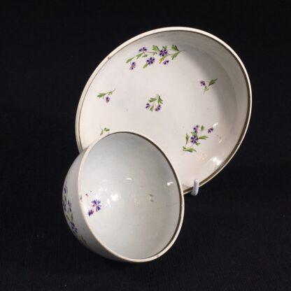 English pearlware teabowl & saucer, cornflower sprays, c. 1800-26666