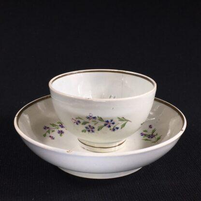 English pearlware teabowl & saucer, cornflower sprays, c. 1800-0