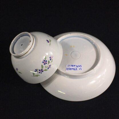 English pearlware teabowl & saucer, cornflower sprays, c. 1800-26670