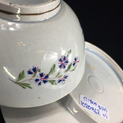 English pearlware teabowl & saucer, cornflower sprays, c. 1800-26668
