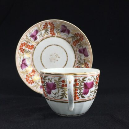 Coalport fluted cup & saucer, fruiting vine in red & purple, c. 1800-26662
