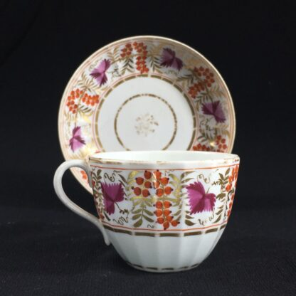 Coalport fluted cup & saucer, fruiting vine in red & purple, c. 1800-26660