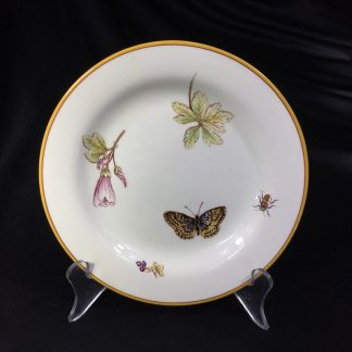 Wedgwood Queensware plate with insects & flowers print, 1885-0