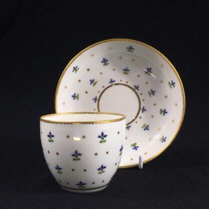Derby beaker & saucer, cornflower pattern #100, c. 1790-26645