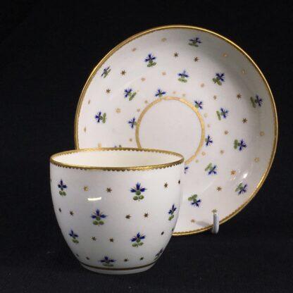 Derby beaker & saucer, cornflower pattern #100, c. 1790-0
