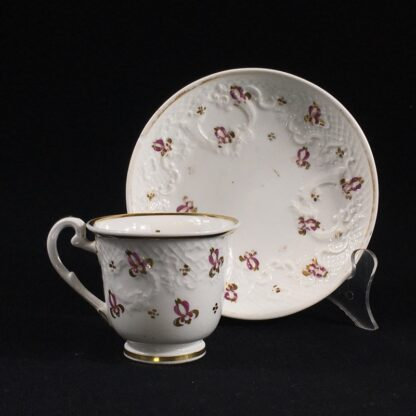 Ridgway cup & saucer, rococo moulding & pat.2/864, c. 1830-0