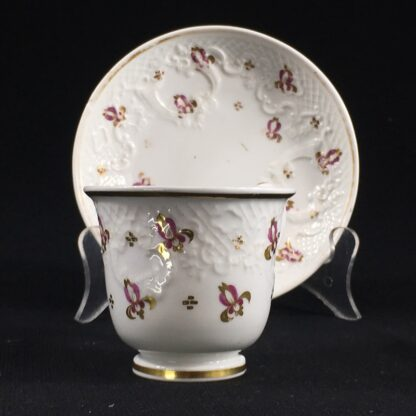 Ridgway cup & saucer, rococo moulding & pat.2/864, c. 1830-26639