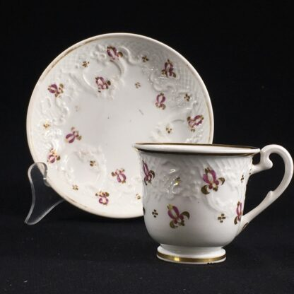 Ridgway cup & saucer, rococo moulding & pat.2/864, c. 1830-26641