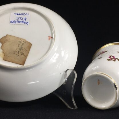 Ridgway cup & saucer, rococo moulding & pat.2/864, c. 1830-26640