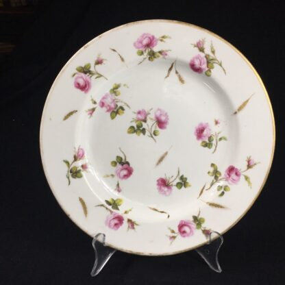 Derby plate with scattered roses & gilt wheat heads, c. 1800-0