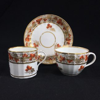 Coalport fluted trio with 'fruiting vine' pattern, c. 1800-0