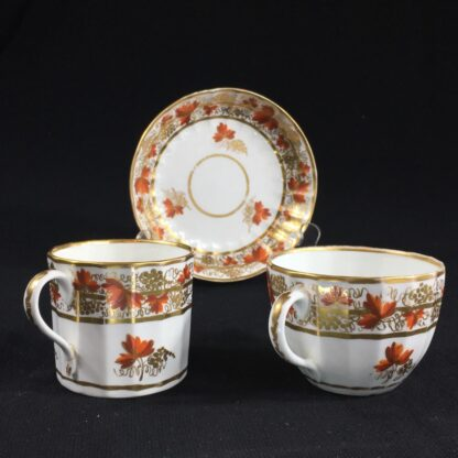 Coalport fluted trio with 'fruiting vine' pattern, c. 1800-26619