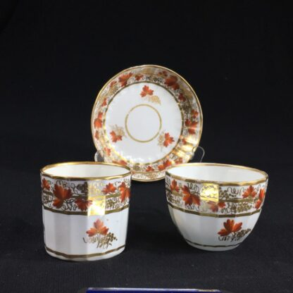 Coalport fluted trio with 'fruiting vine' pattern, c. 1800-26620
