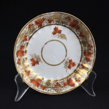 Coalport fluted trio with 'fruiting vine' pattern, c. 1800-26621