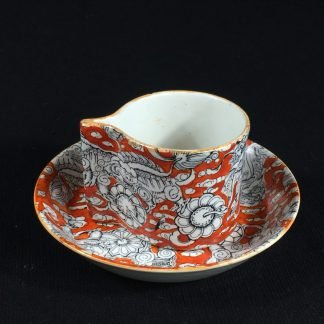 Rare Masons cup & saucer with integral handle, red foo dog pattern, c. 1825-0