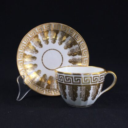 Coalport fluted cup & saucer with rich gilt acanthus spiral pattern, c. 1800-26604