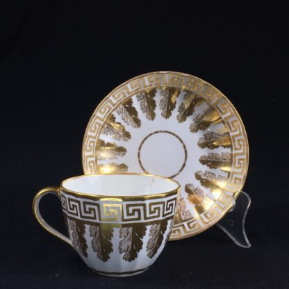 Coalport fluted cup & saucer with rich gilt acanthus spiral pattern, c. 1800-0