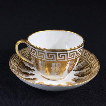 Coalport fluted cup & saucer with rich gilt acanthus spiral pattern, c. 1800-26603