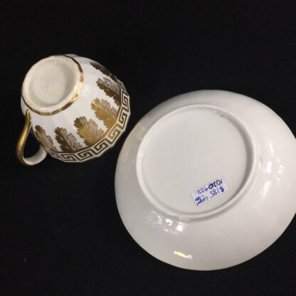Coalport fluted cup & saucer with rich gilt acanthus spiral pattern, c. 1800-26606