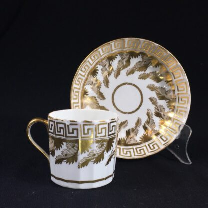 Coalport coffee can & saucer with rich gilt acanthus spiral pattern, c. 1800-26588