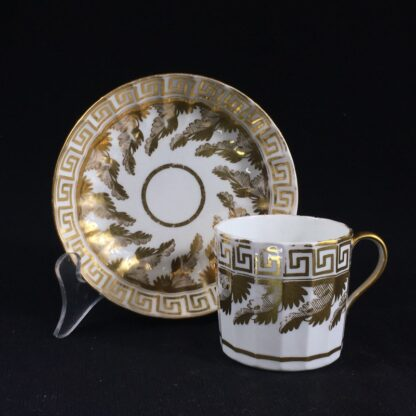 Coalport coffee can & saucer with rich gilt acanthus spiral pattern, c. 1800-0