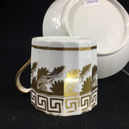 Coalport coffee can & saucer with rich gilt acanthus spiral pattern, c. 1800-26586