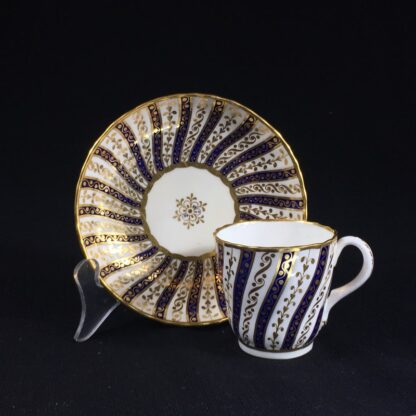 Minton coffee cup & saucer, rich gilt & blue spiral pattern, 1867-0