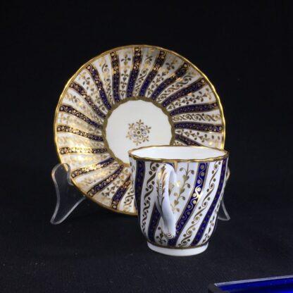Minton coffee cup & saucer, rich gilt & blue spiral pattern, 1867-26578