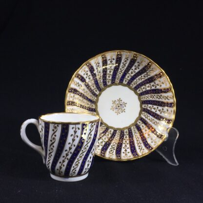 Minton coffee cup & saucer, rich gilt & blue spiral pattern, 1867-26577