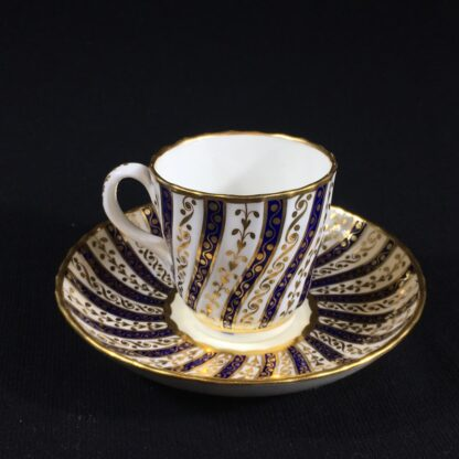 Minton coffee cup & saucer, rich gilt & blue spiral pattern, 1867-26582