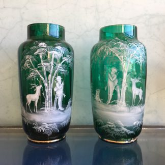 Handsome pair of green 'Mary Gregory' glass vases, white enamel decoration of hunters, c. 1890-0