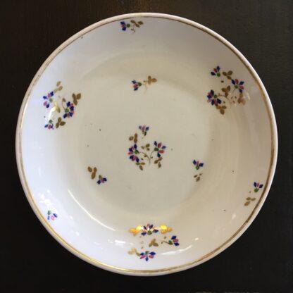 Derby porcelain saucer, cornflower sprigs & gilt, c. 1830-0