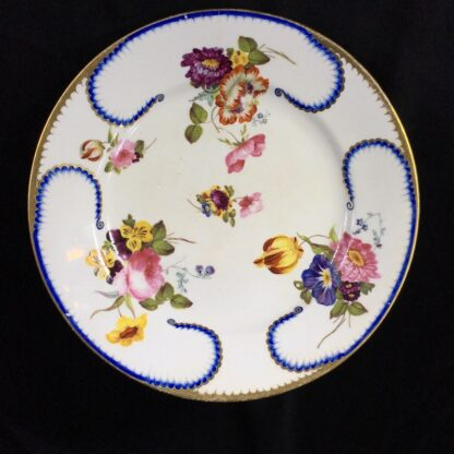 Derby plate in the Sèvres manner, summer flowers, c.1810 -0