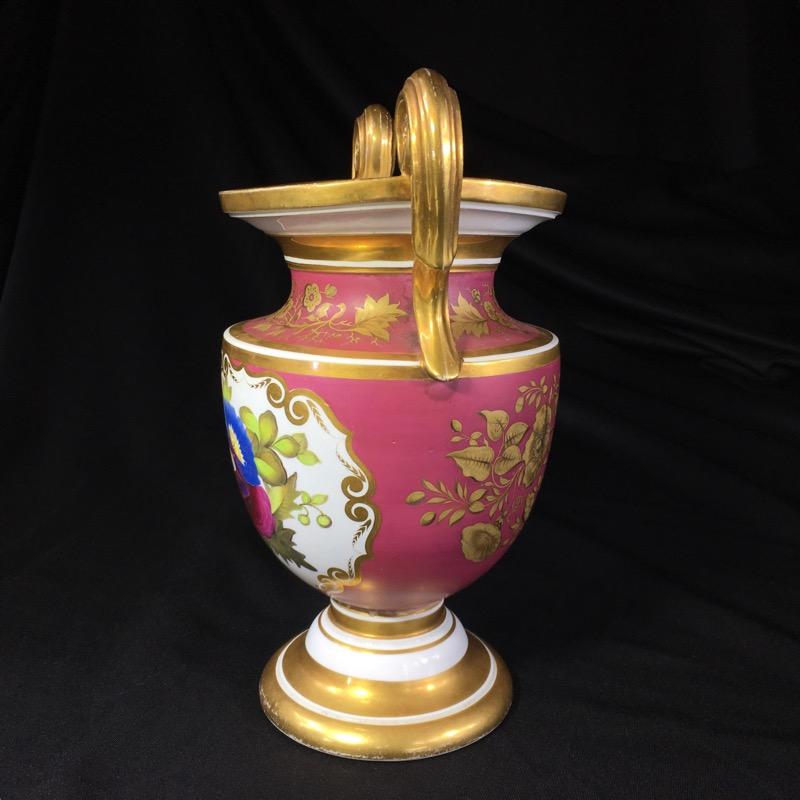 English Porcelain Classical Vase With Superb Flower Panels Claret