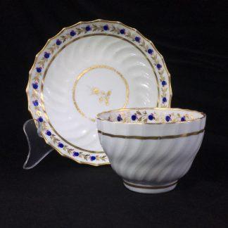 Flight Worcester spiral fluted teabowl & saucer, c.1785 -0