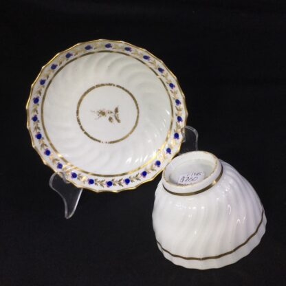 Flight Worcester spiral fluted teabowl & saucer, c.1785 -27090