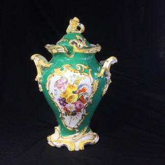 H & R Daniel Rococo potpourri vase, flower panels on green, c. 1830 -0