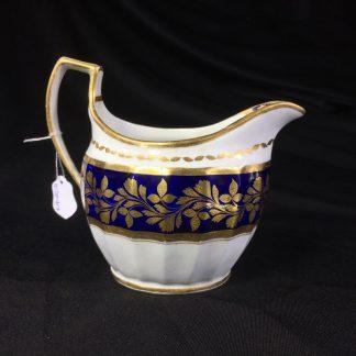 Graingers Worcester milk jug, gilt & blue decoration, c. 1825-0