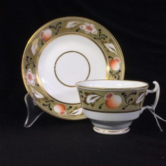 Swansea cup & saucer, London shape with poppy band, c. 1820 -0