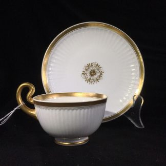 Swansea cup & saucer, French Flute with gilt, c. 1820 -0