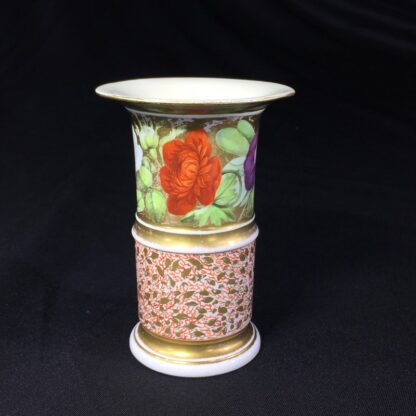 Miles Mason porcelain spill vase, flowers & red seaweed ground, c. 1810 -26963